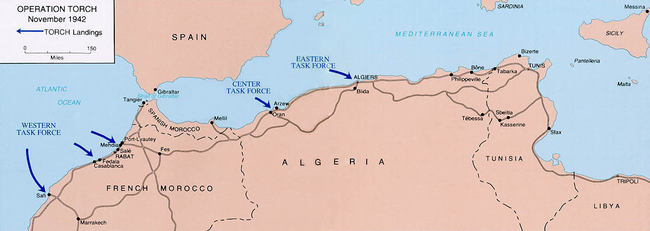 Operation Torch Nov 42 map 109th Engr